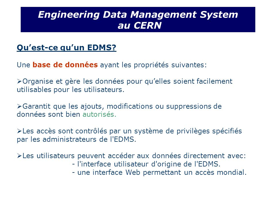 Quest-ce quun EDMS.