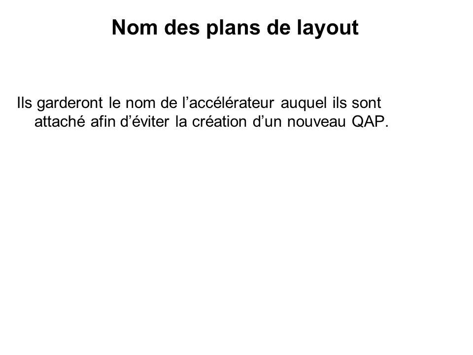 Nom des plans de layout Ils garderont le nom de laccélérateur auquel ils sont attaché afin déviter la création dun nouveau QAP.