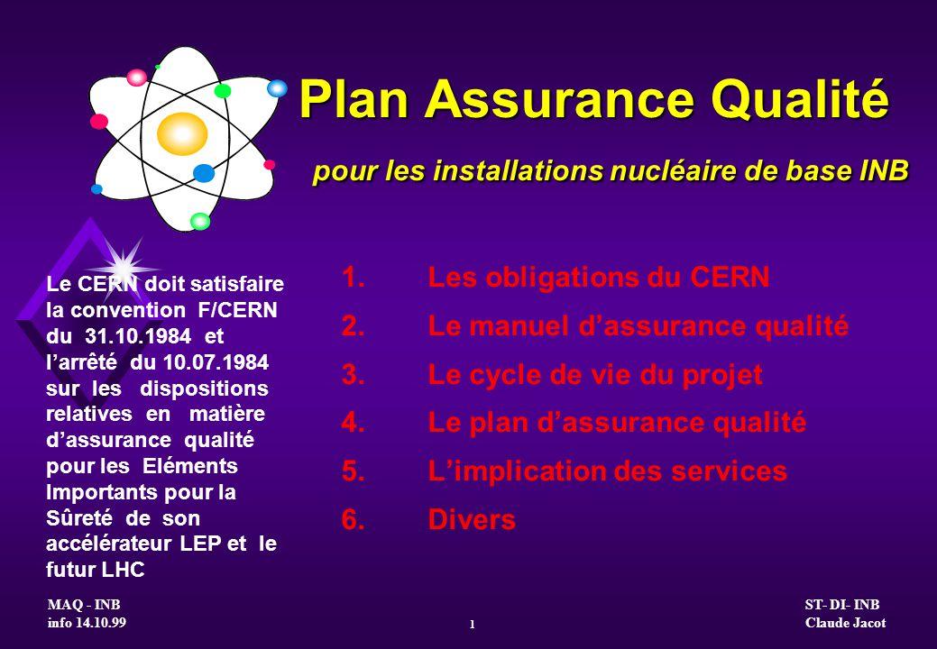 Plan Assurance Qualité pour les installations nucléaire de base INB 1.Les obligations du CERN 2.Le manuel dassurance qualité 3.Le cycle de vie du proj