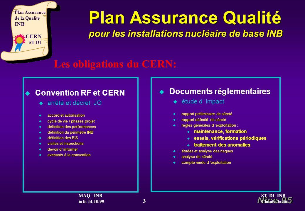 Plan Assurance Qualité pour les installations nucléaire de base INB u Convention RF et CERN u arrêté et décret JO u accord et autorisation u cycle de