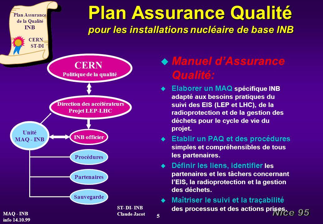 Plan Assurance Qualité pour les installations nucléaire de base INB u Manuel dAssurance Qualité: u Elaborer un MAQ spécifique INB adapté aux besoins p