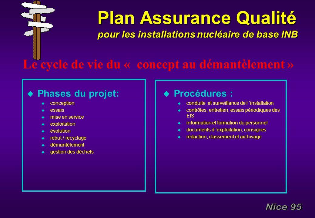 Plan Assurance Qualité pour les installations nucléaire de base INB u Phases du projet: u conception u essais u mise en service u exploitation u évolu