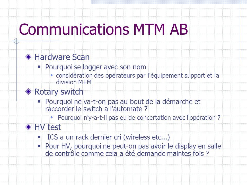 Communications MTM AB Hardware Scan Pourquoi se logger avec son nom considération des opérateurs par l'équipement support et la division MTM Rotary sw
