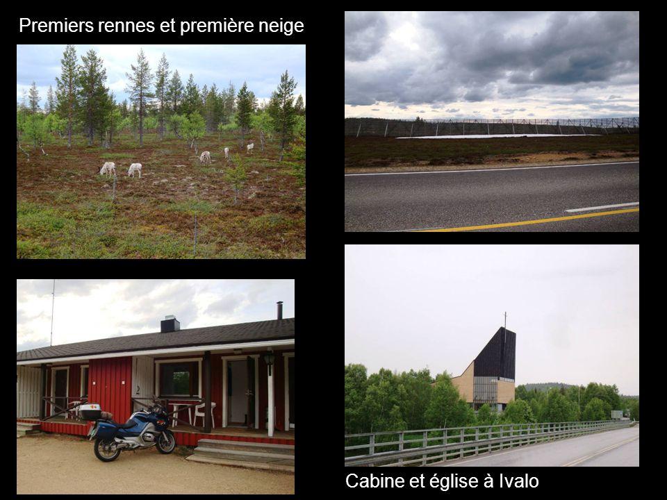 Premiers rennes et première neige Cabine et église à Ivalo