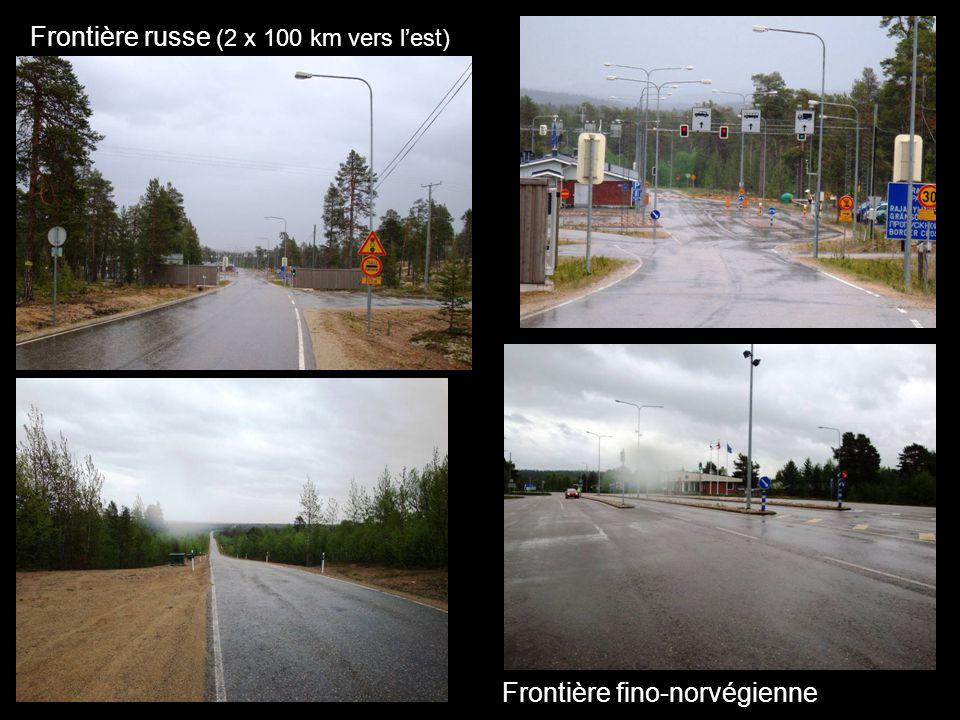 Frontière russe (2 x 100 km vers lest) Frontière fino-norvégienne