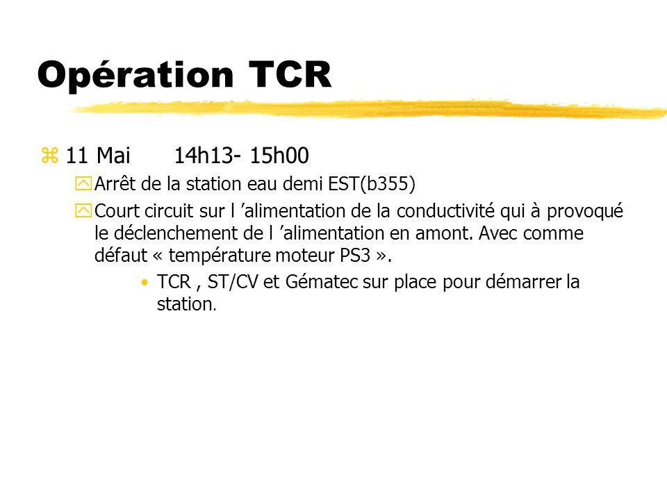 Opérateur TCR z12 Mai11h00 - 12h30 yAlarme départ 380V machine PS xArrêt du Linac par manque d eau MCR appelle TCR, qui avait déjà demandé l intervention de ST/EL.