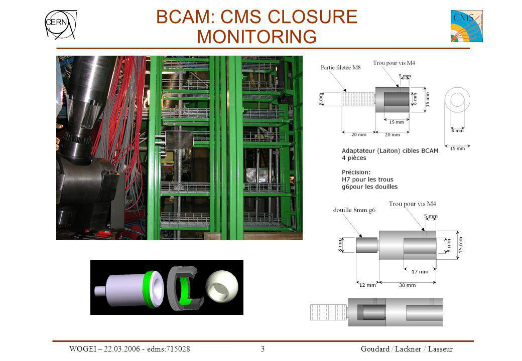 WOGEI – 22.03.2006 - edms:7150283 Goudard / Lackner / Lasseur BCAM: CMS CLOSURE MONITORING