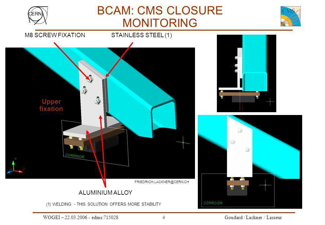 WOGEI – 22.03.2006 - edms:7150285 Goudard / Lackner / Lasseur BCAM: CMS CLOSURE MONITORING Utilisation de ARAMys, Programme développé par C.