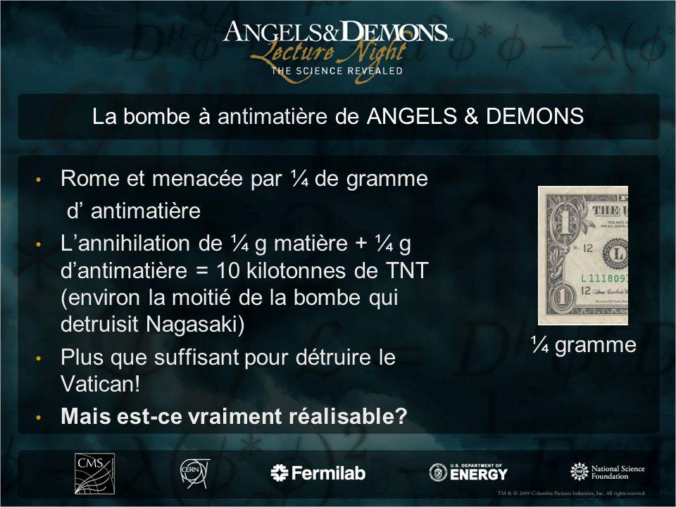 La bombe à antimatière de ANGELS & DEMONS Rome et menacée par ¼ de gramme d antimatière Lannihilation de ¼ g matière + ¼ g dantimatière = 10 kilotonne