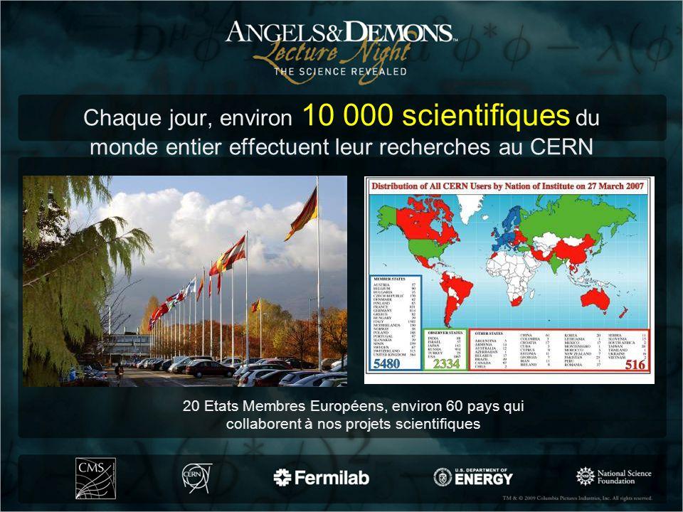 Chaque jour, environ 10 000 scientifiques du monde entier effectuent leur recherches au CERN 20 Etats Membres Européens, environ 60 pays qui collabore
