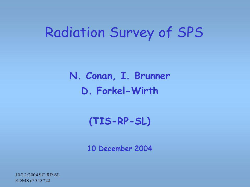 10/12/2004 SC-RP-SL EDMS nº 543722 Radiation Survey of SPS N.