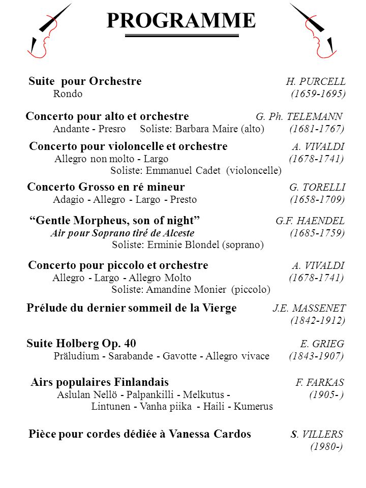 PROGRAMME Concerto pour violoncelle et orchestre A. VIVALDI Allegro non molto - Largo (1678-1741) Soliste: Emmanuel Cadet (violoncelle) Concerto pour