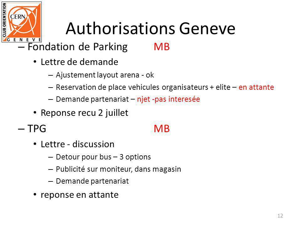 Authorisations Geneve – Fondation de ParkingMB Lettre de demande – Ajustement layout arena - ok – Reservation de place vehicules organisateurs + elite