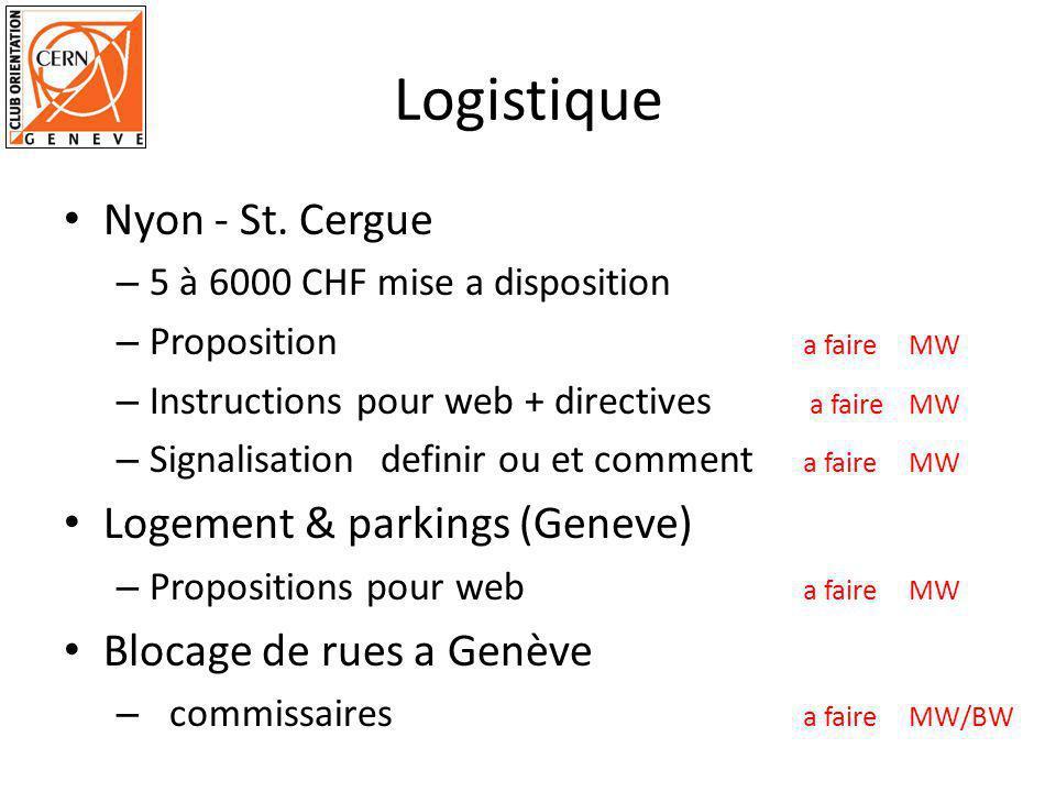 Logistique Nyon - St. Cergue – 5 à 6000 CHF mise a disposition – Proposition a faire MW – Instructions pour web + directives a faireMW – Signalisation