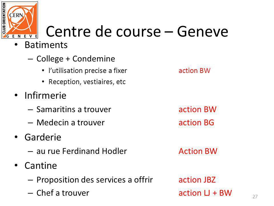 Centre de course – Geneve Batiments – College + Condemine lutilisation precise a fixeraction BW Reception, vestiaires, etc Infirmerie – Samaritins a t