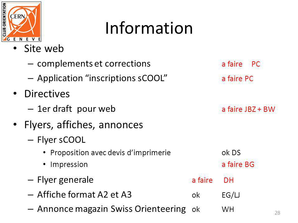 Information Site web – complements et corrections a fairePC – Application inscriptions sCOOL a faire PC Directives – 1er draft pour web a faire JBZ + BW Flyers, affiches, annonces – Flyer sCOOL Proposition avec devis dimprimerieok DS Impressiona faire BG – Flyer generale a faire DH – Affiche format A2 et A3 ok EG/LJ – Annonce magazin Swiss Orienteering okWH 28