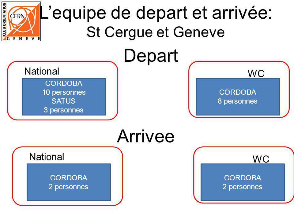 Lequipe de depart et arrivée: St Cergue et Geneve CORDOBA 10 personnes SATUS 3 personnes WC National CORDOBA 8 personnes Arrivee CORDOBA 2 personnes WC National CORDOBA 2 personnes Depart
