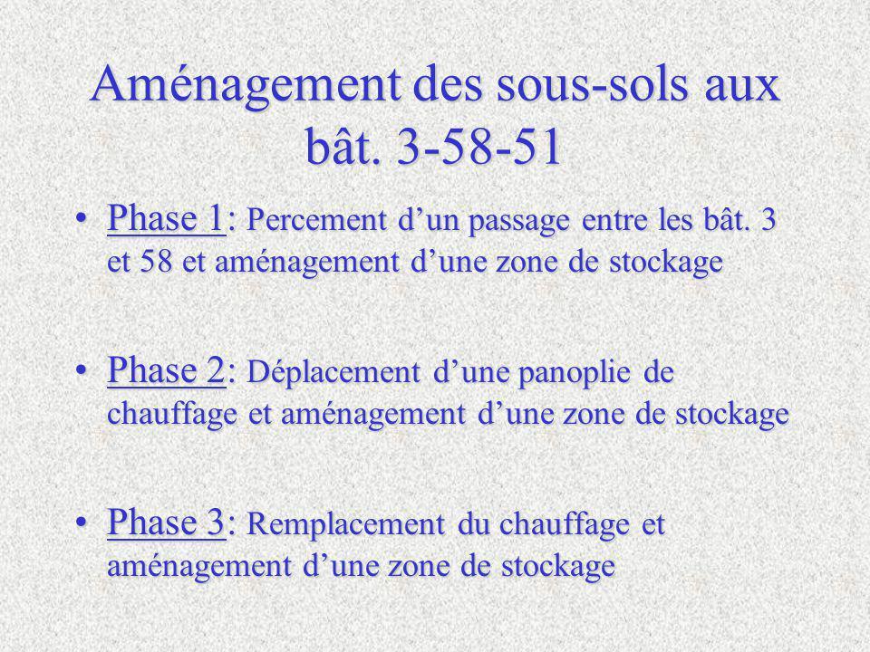Aménagement des sous-sols aux bât.3-58-51 Phase 1: Percement dun passage entre les bât.