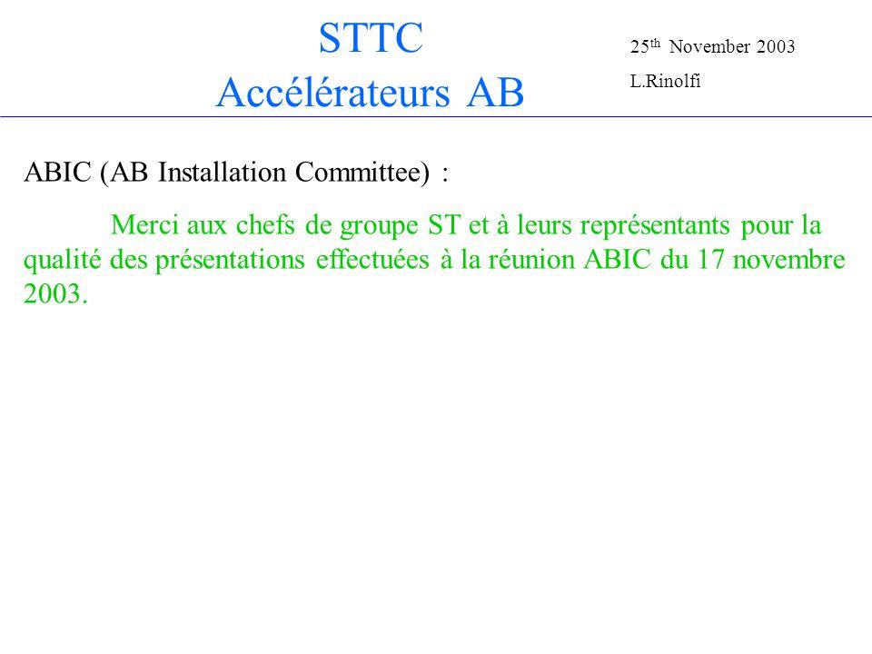 STTC Accélérateurs AB ABIC (AB Installation Committee) : Merci aux chefs de groupe ST et à leurs représentants pour la qualité des présentations effectuées à la réunion ABIC du 17 novembre 2003.