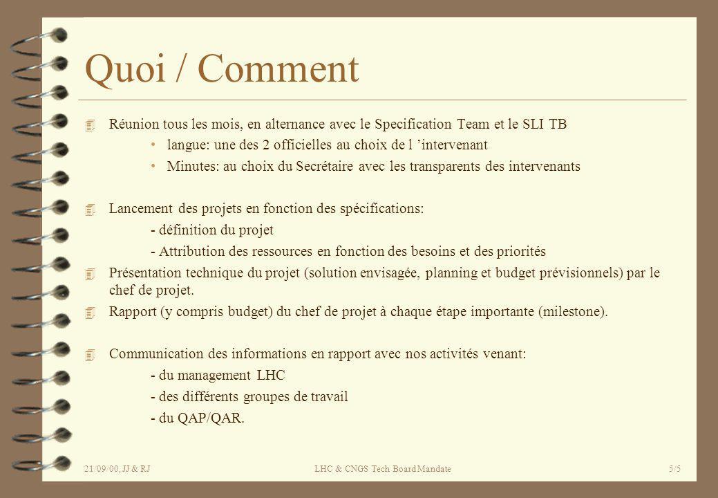 21/09/00, JJ & RJLHC & CNGS Tech Board Mandate5/5 Quoi / Comment 4 Réunion tous les mois, en alternance avec le Specification Team et le SLI TB langue