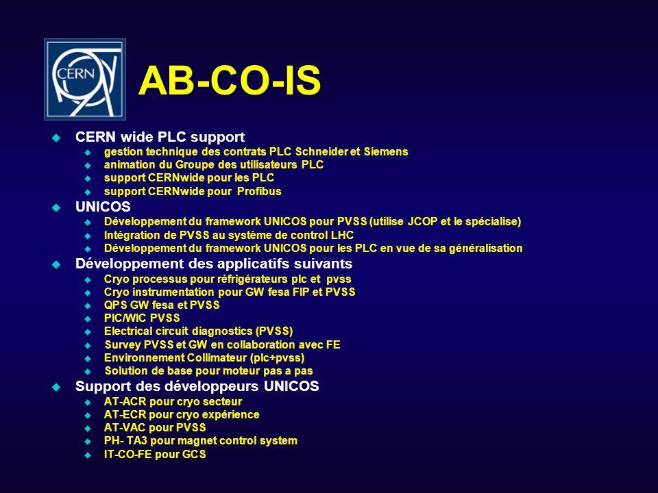 AB-CO-IS CERN wide PLC support gestion technique des contrats PLC Schneider et Siemens animation du Groupe des utilisateurs PLC support CERNwide pour les PLC support CERNwide pour Profibus UNICOS Développement du framework UNICOS pour PVSS (utilise JCOP et le spécialise) Intégration de PVSS au système de control LHC Développement du framework UNICOS pour les PLC en vue de sa généralisation Développement des applicatifs suivants Cryo processus pour réfrigérateurs plc et pvss Cryo instrumentation pour GW fesa FIP et PVSS QPS GW fesa et PVSS PIC/WIC PVSS Electrical circuit diagnostics (PVSS) Survey PVSS et GW en collaboration avec FE Environnement Collimateur (plc+pvss) Solution de base pour moteur pas a pas Support des développeurs UNICOS AT-ACR pour cryo secteur AT-ECR pour cryo expérience AT-VAC pour PVSS PH- TA3 pour magnet control system IT-CO-FE pour GCS