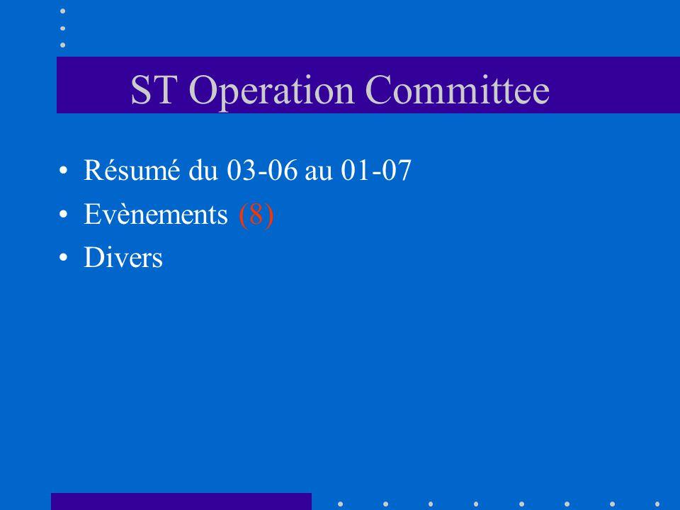 ST Operation Committee Résumé du 03-06 au 01-07 Evènements (8) Divers