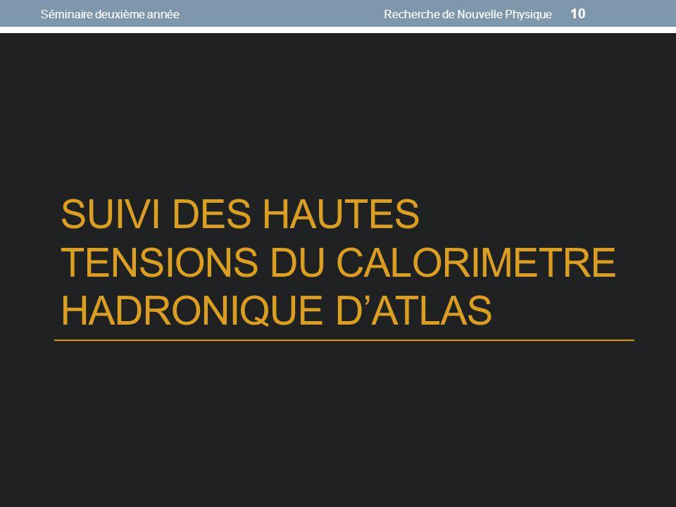 SUIVI DES HAUTES TENSIONS DU CALORIMETRE HADRONIQUE DATLAS Séminaire deuxième annéeRecherche de Nouvelle Physique 10