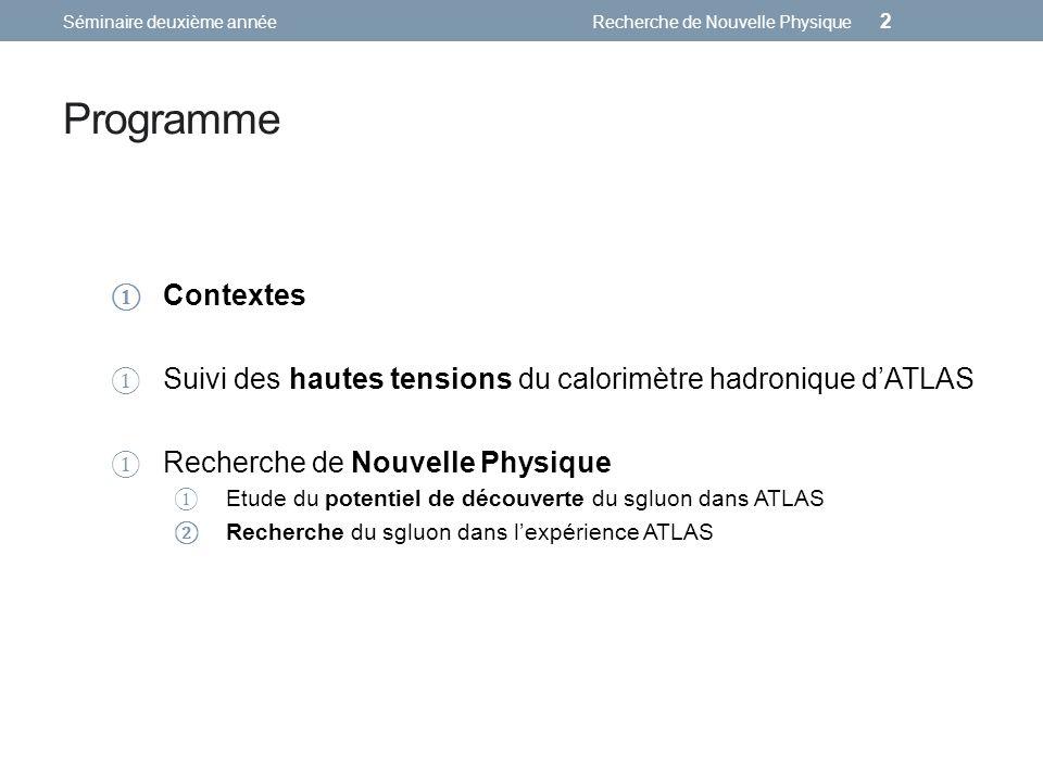 Programme Contextes Suivi des hautes tensions du calorimètre hadronique dATLAS Recherche de Nouvelle Physique Etude du potentiel de découverte du sglu