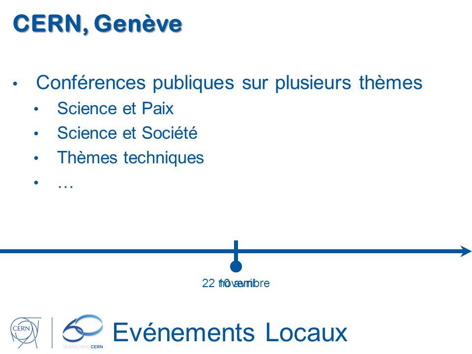 22 novembre Evénements Locaux CERN, Genève Conférences publiques sur plusieurs thèmes Science et Paix Science et Société Thèmes techniques … 10 avril
