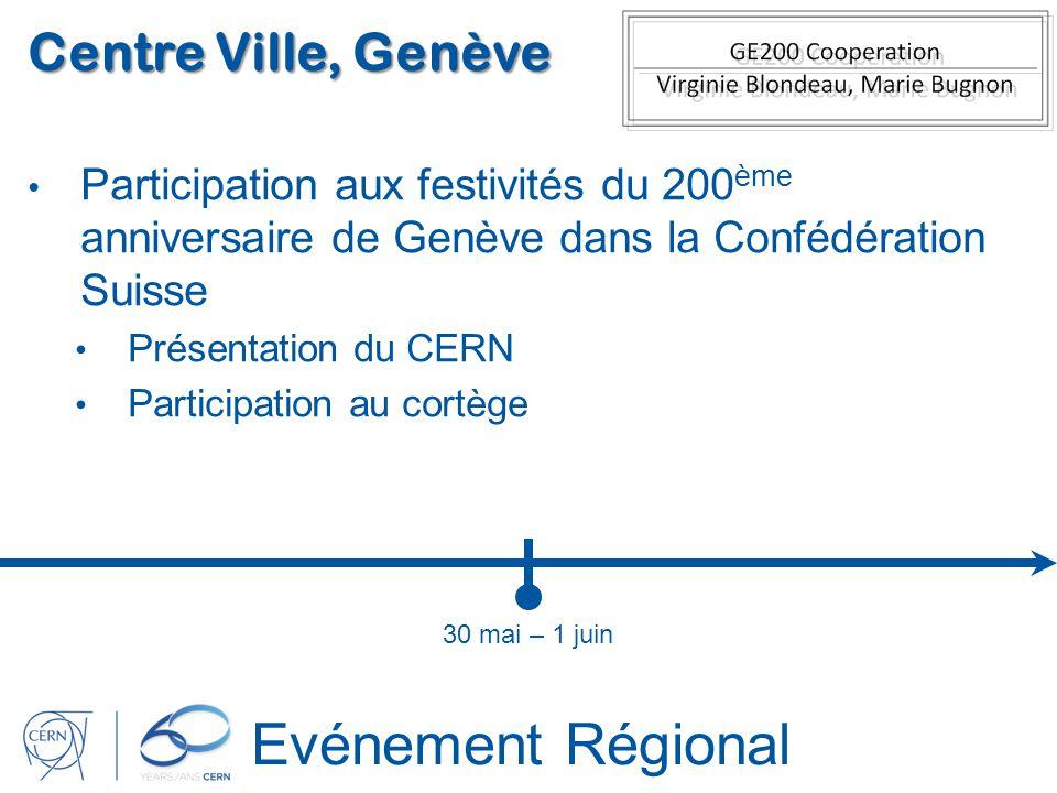 Evénement Régional Centre Ville, Genève Participation aux festivités du 200 ème anniversaire de Genève dans la Confédération Suisse Présentation du CE