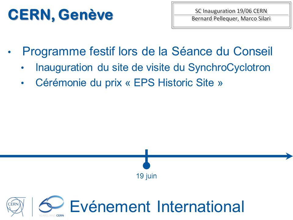 Evénement International CERN, Genève Programme festif lors de la Séance du Conseil Inauguration du site de visite du SynchroCyclotron Cérémonie du pri
