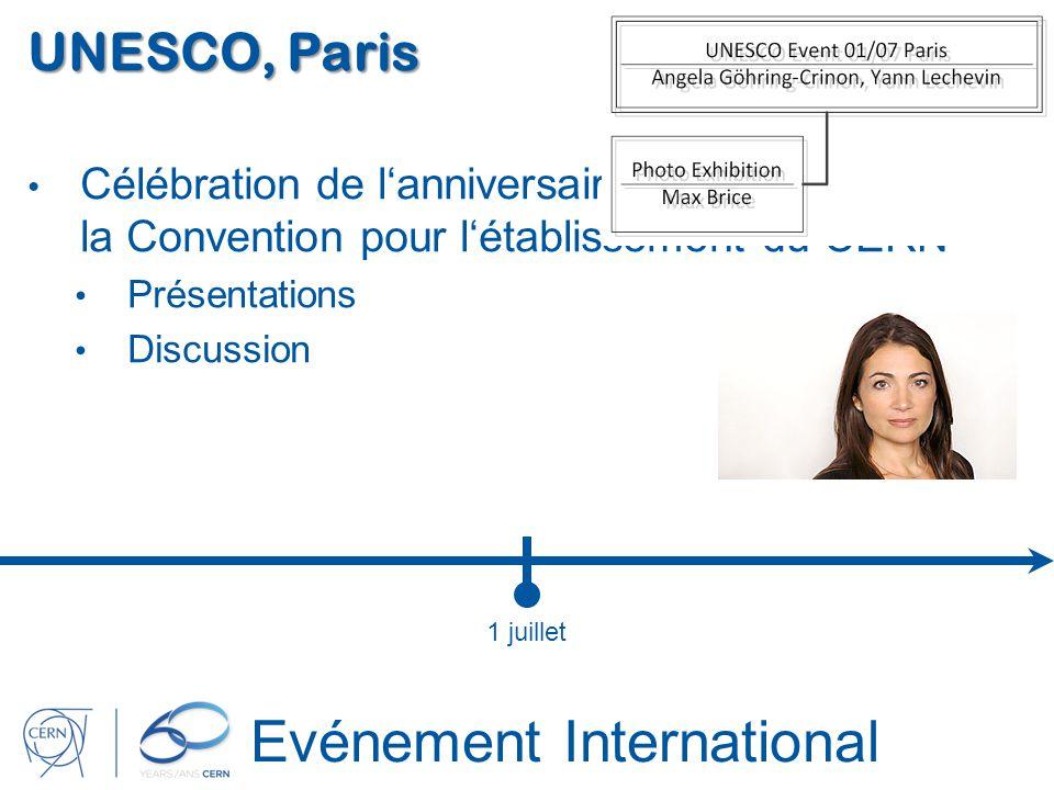 Evénement International UNESCO, Paris Célébration de lanniversaire de la signature de la Convention pour létablissement du CERN Présentations Discussi