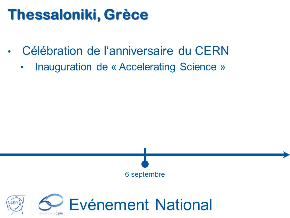 Evénement National Thessaloniki, Grèce Célébration de lanniversaire du CERN Inauguration de « Accelerating Science » 6 septembre