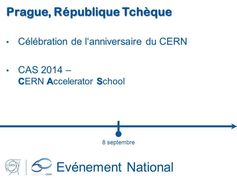 Evénement National Prague, République Tchèque Célébration de lanniversaire du CERN CAS CAS 2014 – CERN Accelerator School 8 septembre