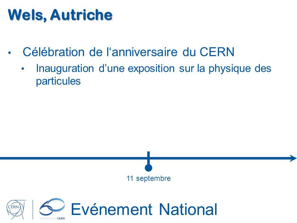 Evénement National Wels, Autriche Célébration de lanniversaire du CERN Inauguration dune exposition sur la physique des particules 11 septembre