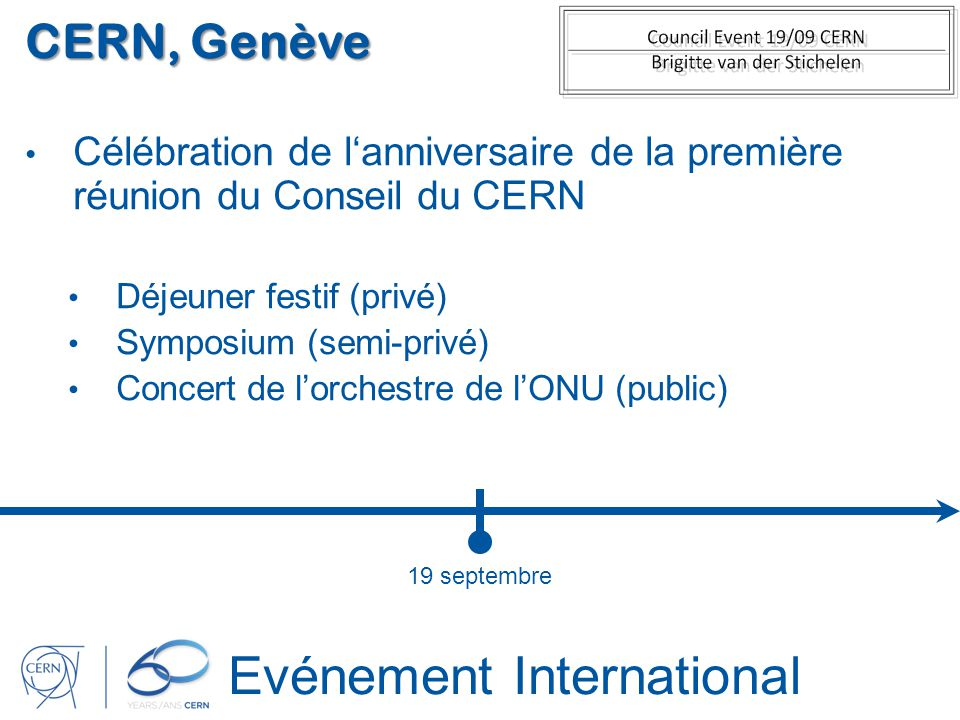 Evénement International CERN, Genève Célébration de lanniversaire de la première réunion du Conseil du CERN Déjeuner festif (privé) Symposium (semi-pr