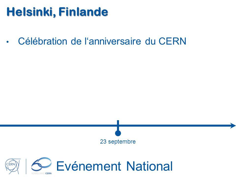 Evénement National Helsinki, Finlande Célébration de lanniversaire du CERN 23 septembre