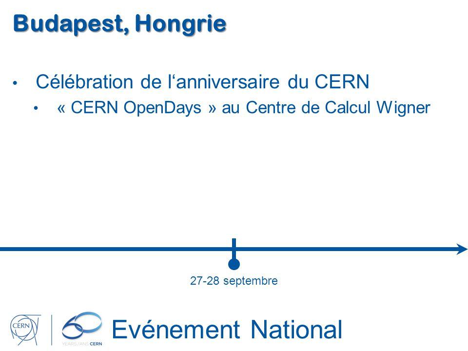 Evénement National Budapest, Hongrie Célébration de lanniversaire du CERN « CERN OpenDays » au Centre de Calcul Wigner 27-28 septembre