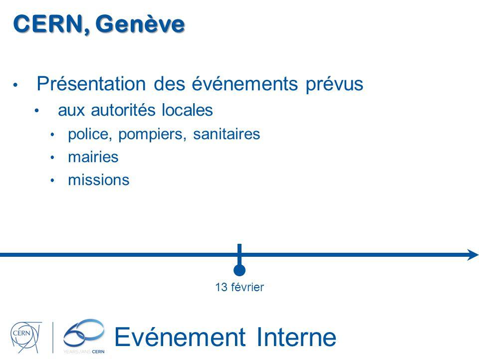 Evénement Interne CERN, Genève Présentation des événements prévus aux autorités locales police, pompiers, sanitaires mairies missions 13 février
