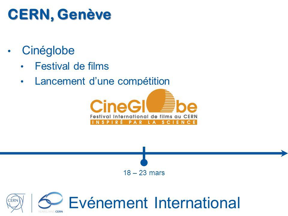 Evénement International CERN, Genève Cinéglobe Festival de films Lancement dune compétition 18 – 23 mars