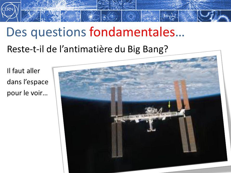 Des questions fondamentales… Reste-t-il de lantimatière du Big Bang? Il faut aller dans lespace pour le voir…