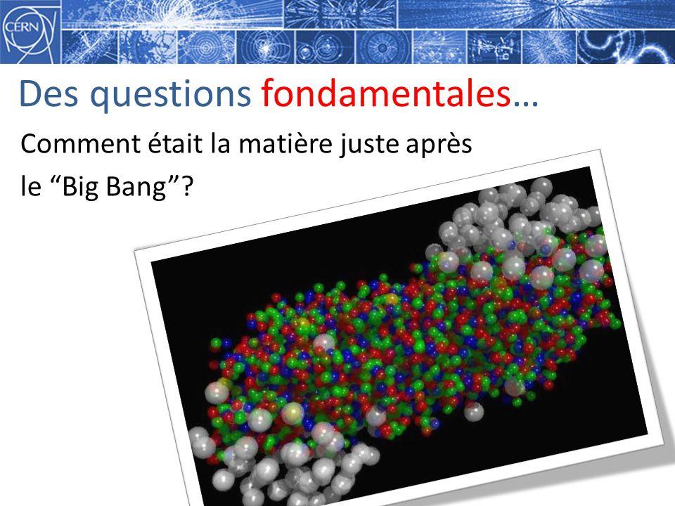 Des questions fondamentales… Comment était la matière juste après le Big Bang?