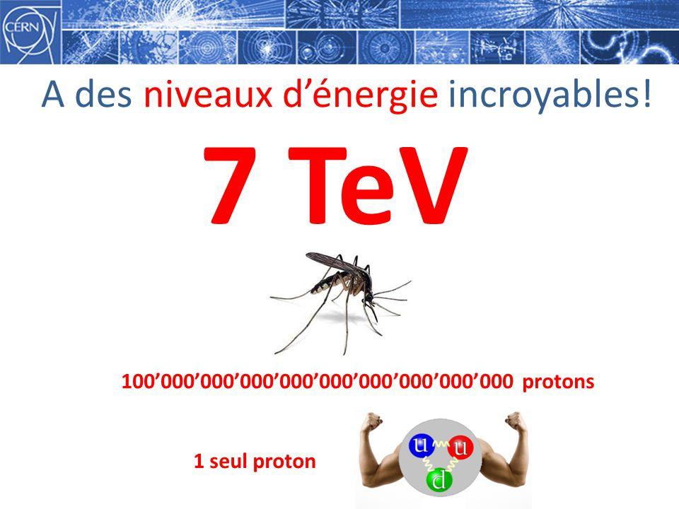 A des niveaux dénergie incroyables! 7 TeV 100000000000000000000000000000 protons 1 seul proton