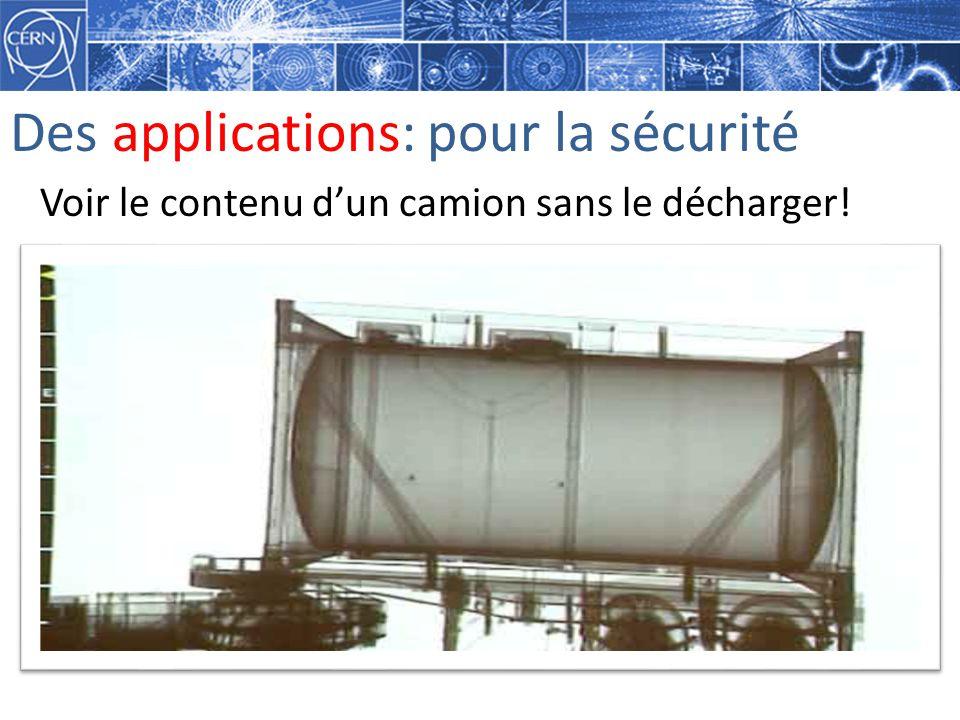 Des applications: pour la sécurité Voir le contenu dun camion sans le décharger!