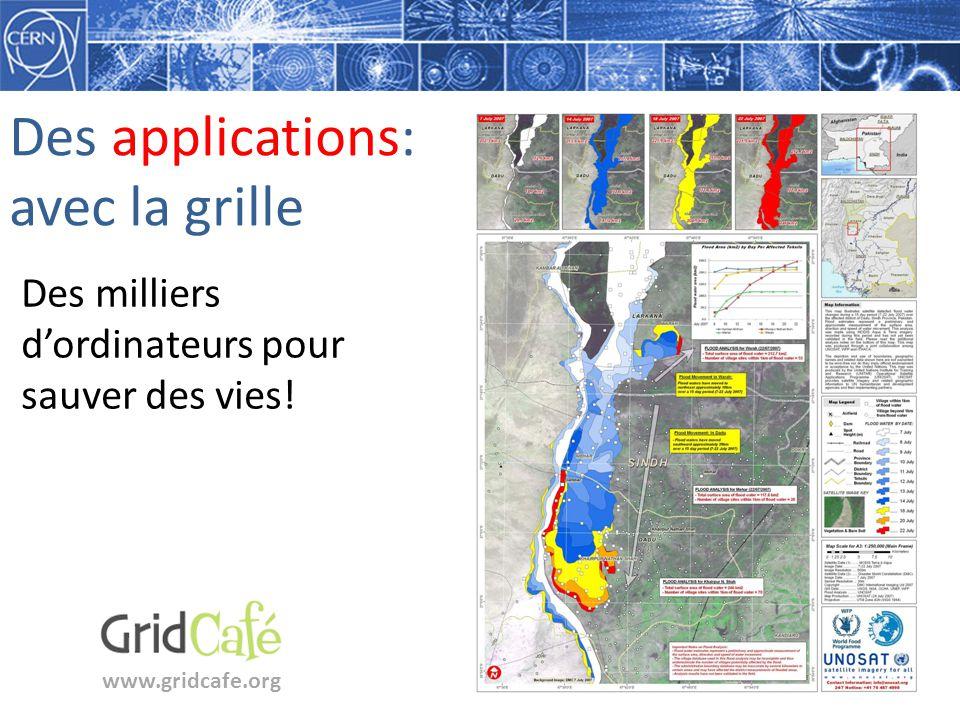 Des applications: avec la grille www.gridcafe.org Des milliers dordinateurs pour sauver des vies!