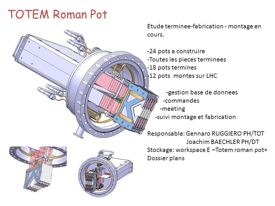 TOTEM Roman Pot Etude terminee-fabrication - montage en cours.