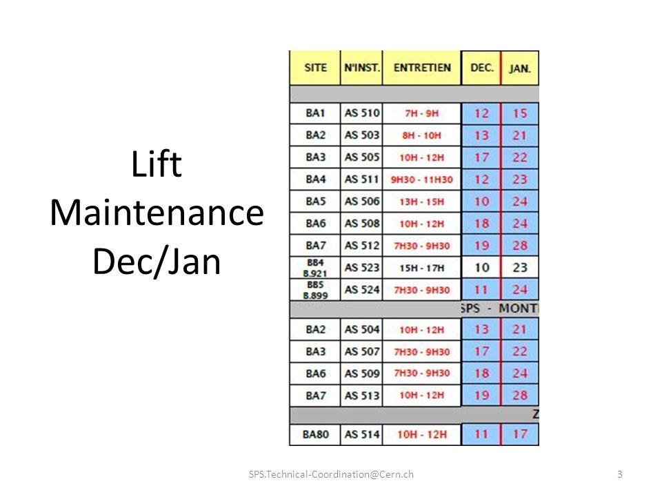 Lift Maintenance Dec/Jan SPS.Technical-Coordination@Cern.ch3
