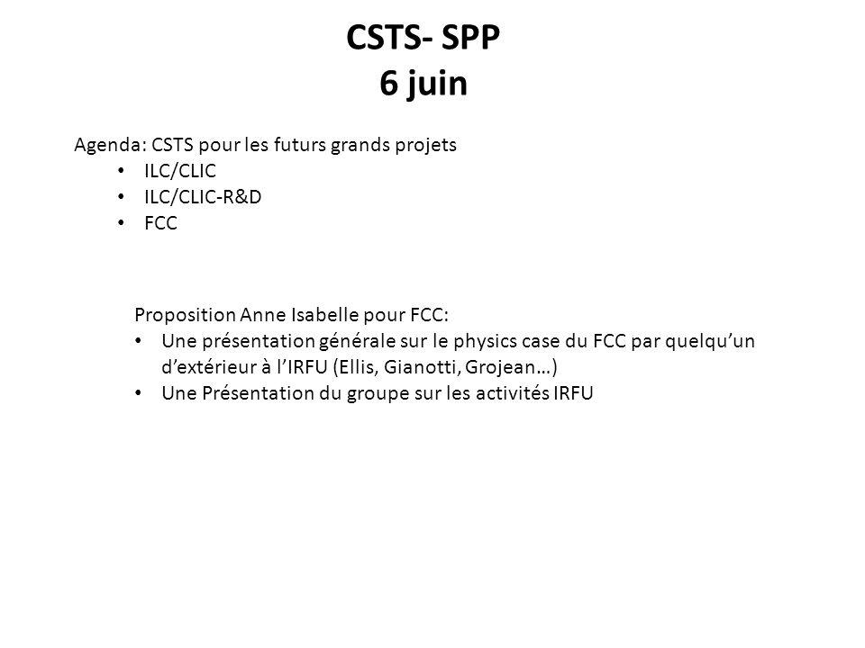 CSTS- SPP 6 juin Agenda: CSTS pour les futurs grands projets ILC/CLIC ILC/CLIC-R&D FCC Proposition Anne Isabelle pour FCC: Une présentation générale sur le physics case du FCC par quelquun dextérieur à lIRFU (Ellis, Gianotti, Grojean…) Une Présentation du groupe sur les activités IRFU