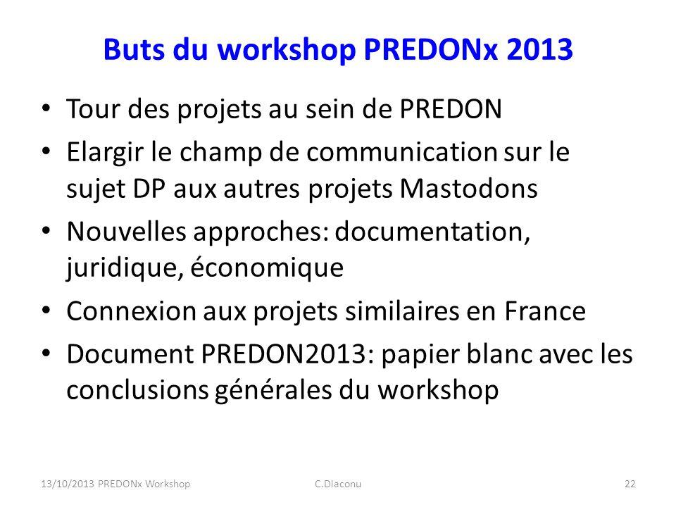 Buts du workshop PREDONx 2013 Tour des projets au sein de PREDON Elargir le champ de communication sur le sujet DP aux autres projets Mastodons Nouvel