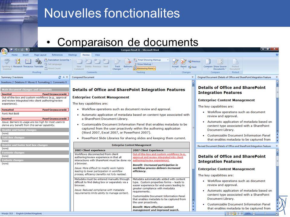CERN IT Department CH-1211 Genève 23 Switzerland www.cern.ch/i t Nouvelles fonctionalites Comparaison de documents